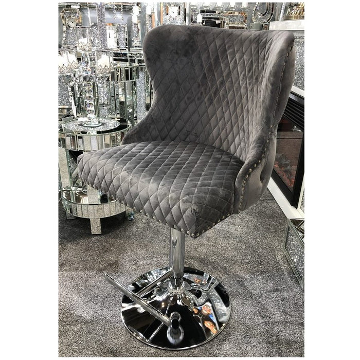 Valentino Grey Velvet Deep Tufted Lion Head Bar Stool - The Furniture Mega Store