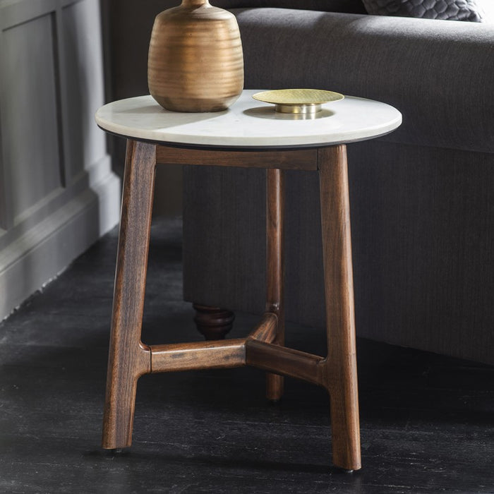 Barcelona Side Table - White Marble Top - The Furniture Mega Store