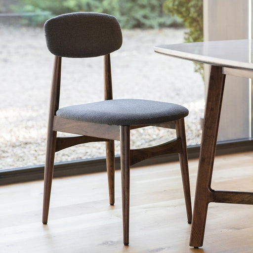 Barcelona Dark Oak & Grey Fabric Dining Chair