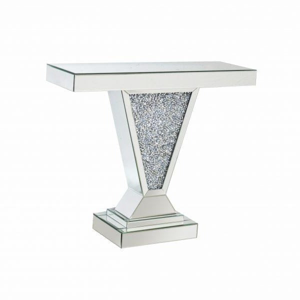Diamond Crushed Mirrored V Console Table
