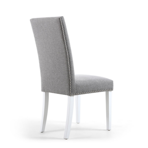 Linen Effect Silver Grey Dining Chairs With White Legs {Set Of 2}