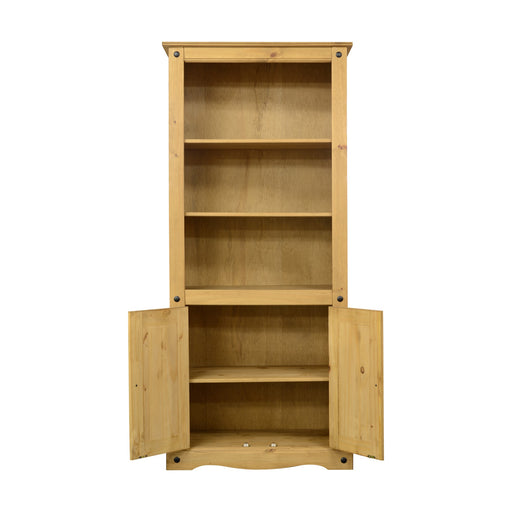 Corona 2 Door Display Unit/Bookcase - Distressed Waxed Pine - The Furniture Mega Store