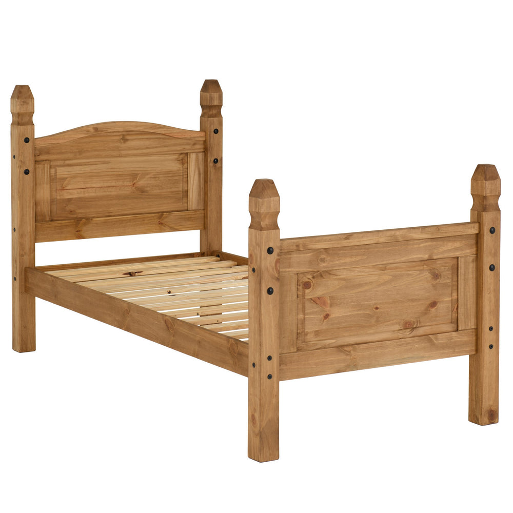 Corona 3' Bed High Foot End in Distressed Waxed Pine - The Furniture Mega Store