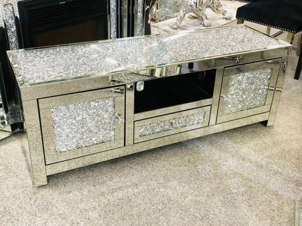 Mirrored Crushed Diamond Top TV Unit 150cm