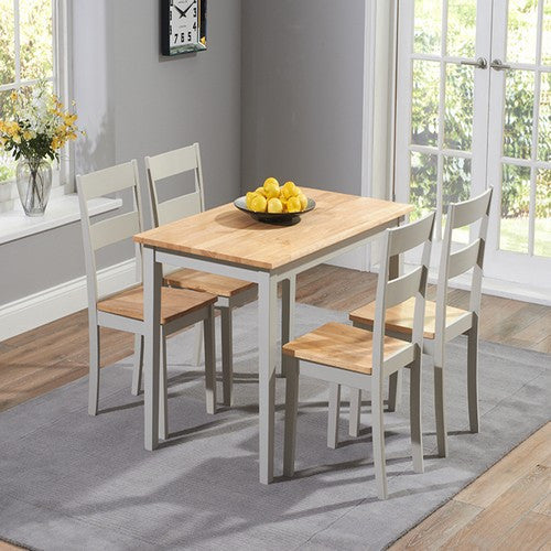 Chichester 115cm Oak & Grey Dining Table with 4 Dining Chairs - The Furniture Mega Store
