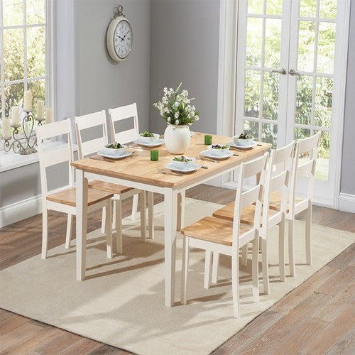 Chichester 150cm Oak & Cream Dining Table with 6 Dining Chairs