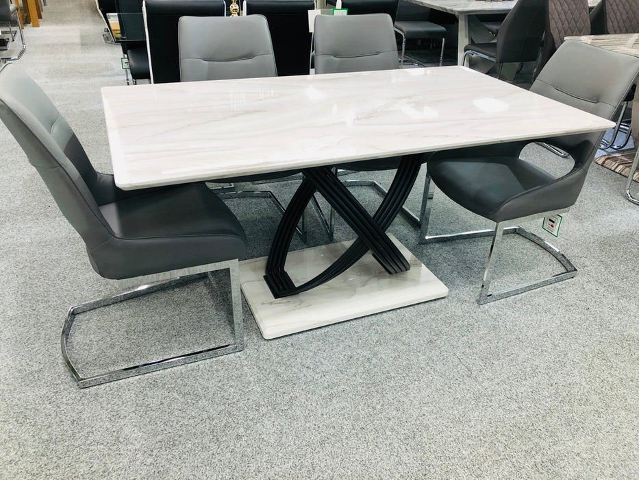 Ancona Dining Table with 6 Ancona Dining Chairs