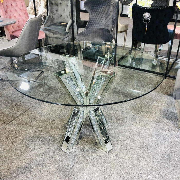 Crushed Diamond Mirrored Cross Leg Glass Top Dining Table