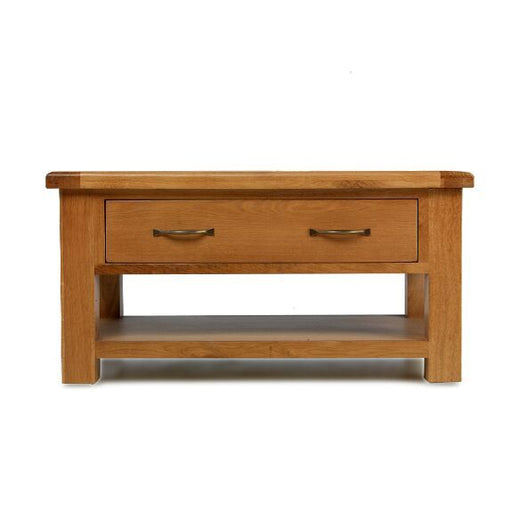 Earlswood Solid Oak Coffee Table With storage Drawer - The Furniture Mega Store