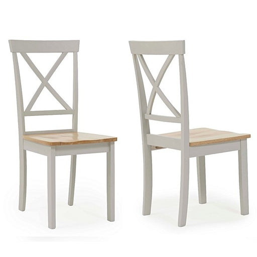 Elstree Oak & Painted Grey Dining Chairs - Set Of 2
