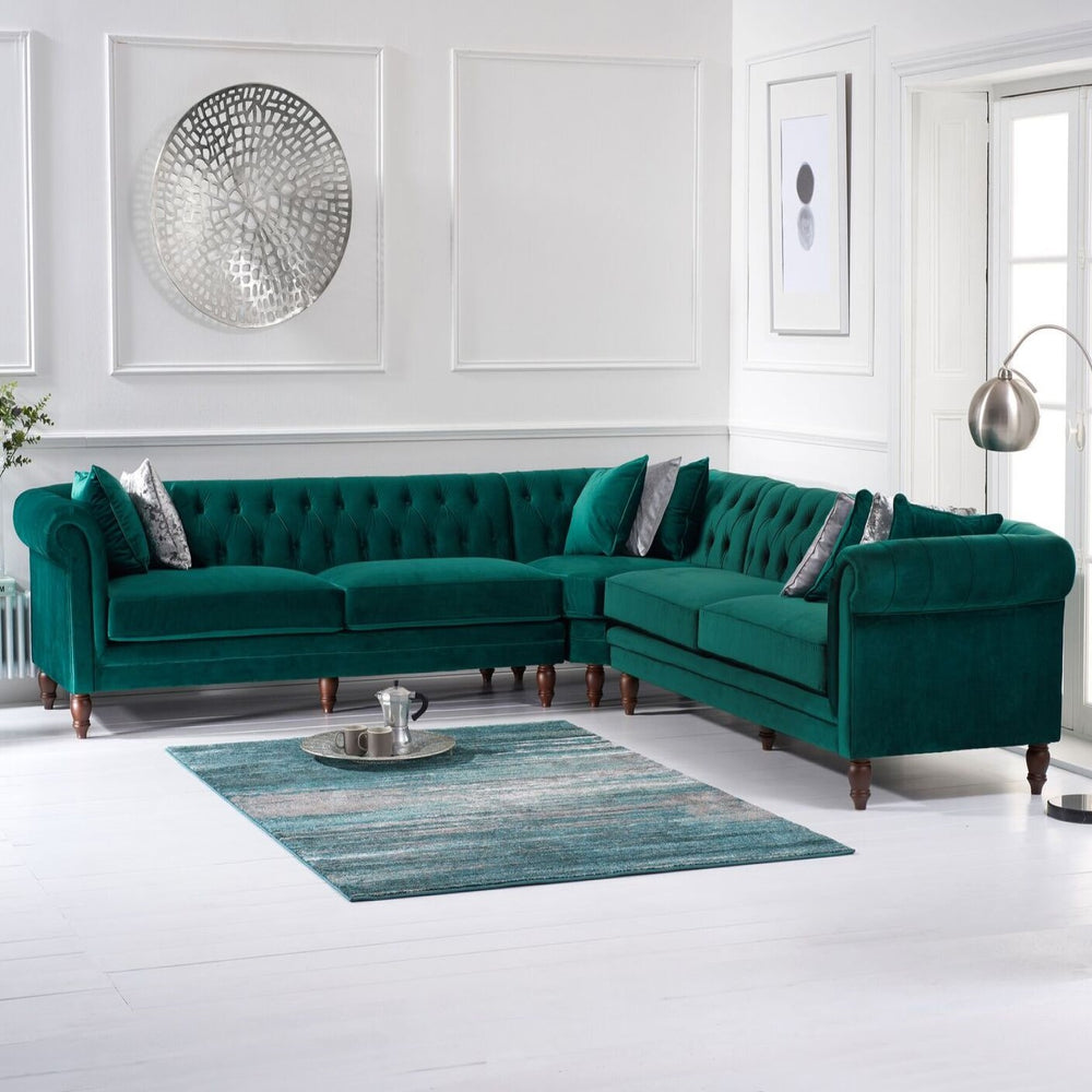 Green Velvet Chesterfield Corner Sofa