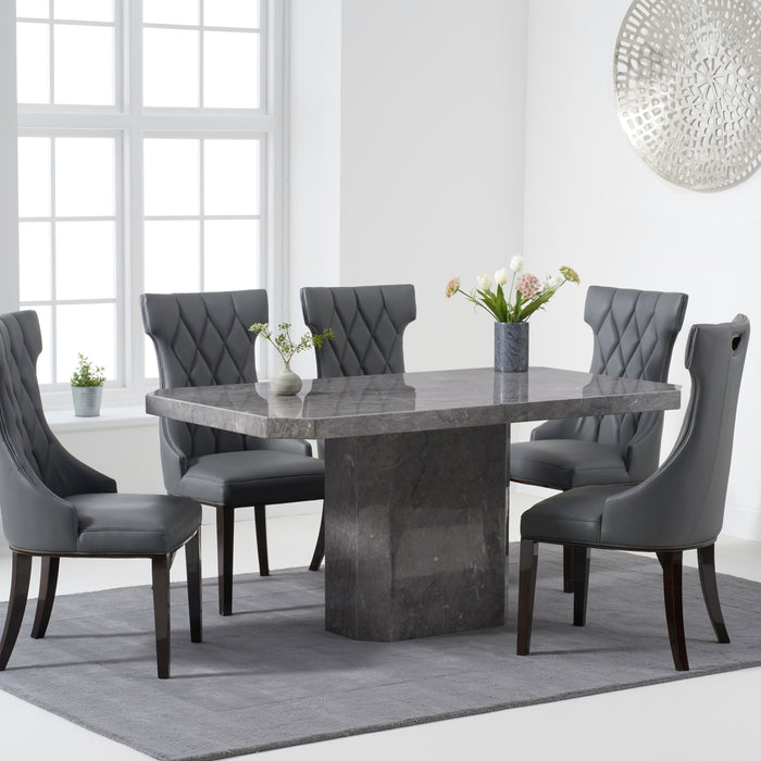 Becca 160cm Grey Marble Dining Table & 6 Fredrick Dining Chairs Set