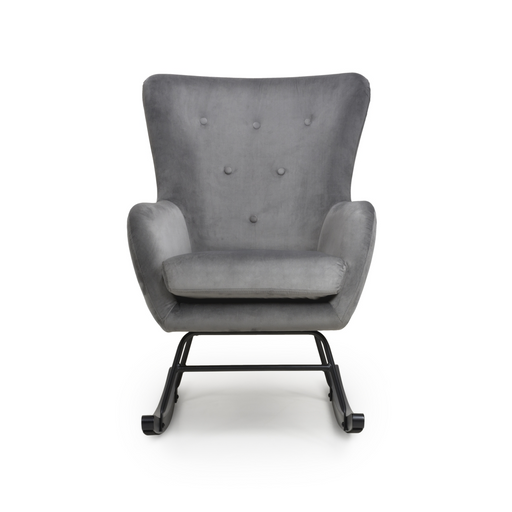 ERICA BRUSHED VELVET GREY ROCKING CHAIR