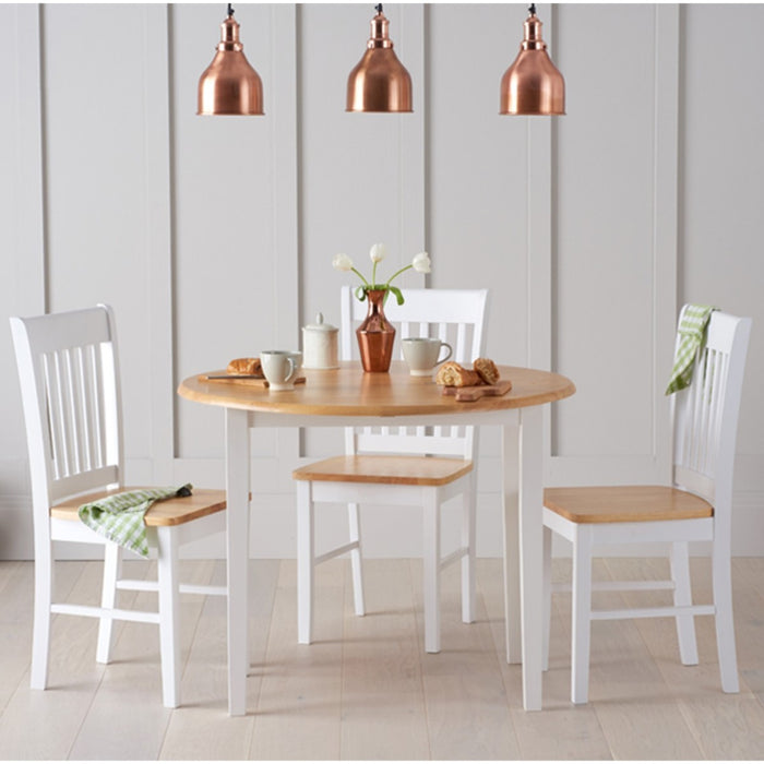 Olivia Round Extending Oak & White Dining Set - The Furniture Mega Store