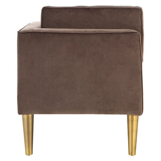 Grey Velvet - Gold Legs Left Arm Chaise Longue - The Furniture Mega Store