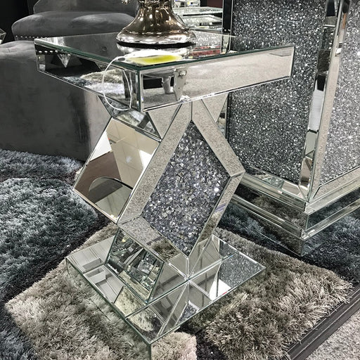 Crushed  Diamond Mirrored Centre Diamond Lamp Table - The Furniture Mega Store