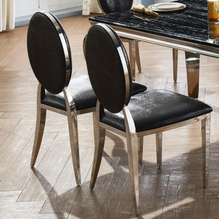 Arriana Dining Chair Stainless Steel & Black { Set Of 2 }