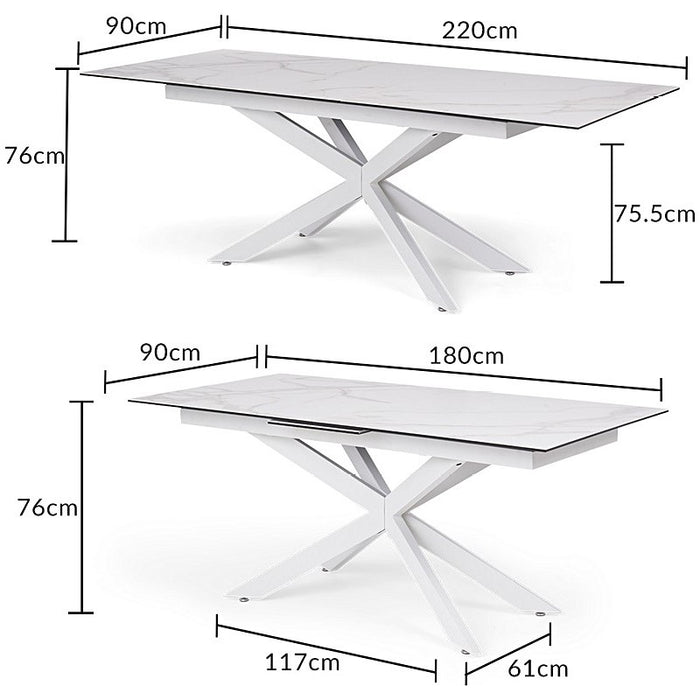 Itolli 180cm Extending White Ceramic Dining Table With White Legs