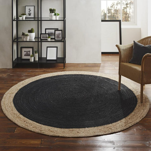 Milano Soft Jute Rug with Charcoal Centre - Choice Of Sizes - The Furniture Mega Store