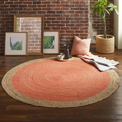 Milano Soft Jute Rug with Blood Orange Centre - Choice Of Sizes - The Furniture Mega Store