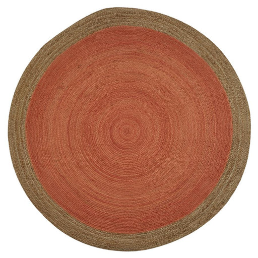 Milano Soft Jute Rug with Blood Orange Centre - Choice Of Sizes