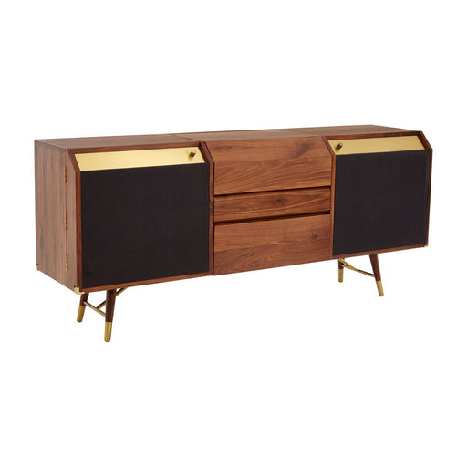 Kenso Walnut Wood & Brass Finish Sideboard - The Furniture Mega Store