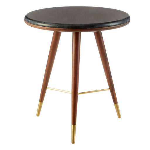 Kenso Walnut Round Marble Top End Table - The Furniture Mega Store