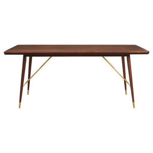 Kenso Walnut Wood & Brass Finish Dining Table - The Furniture Mega Store