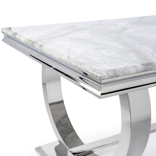 Chelsea Ivory Smoke Marble & Polished Steel Dining Table - Choice Of Sizes