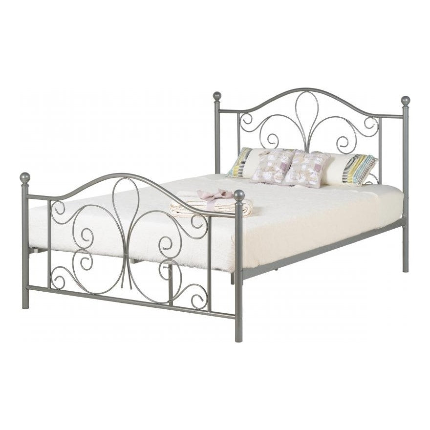 "Annabel 4'6"" Double Bed in Silver"