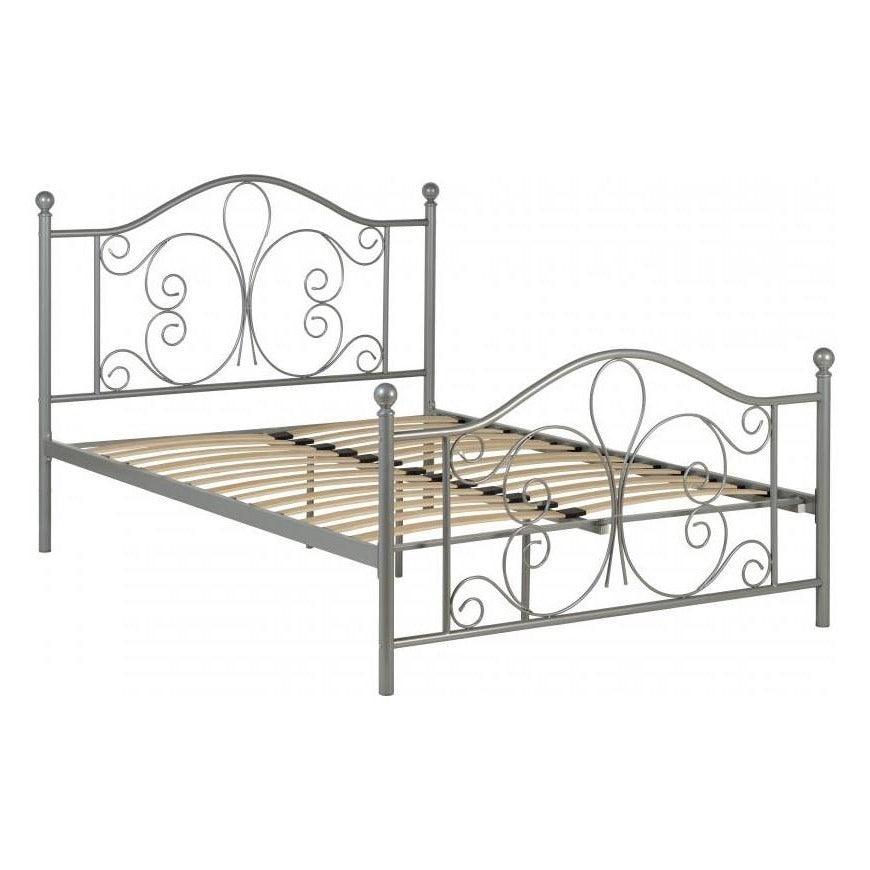 "Annabel 4'6"" Double Bed in Silver - The Furniture Mega Store"