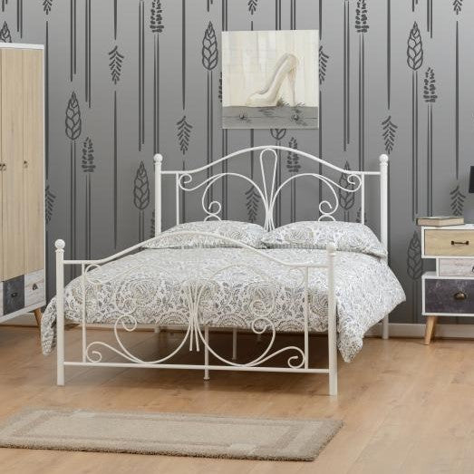 "Annabel 4'6"" Double Bed in White"
