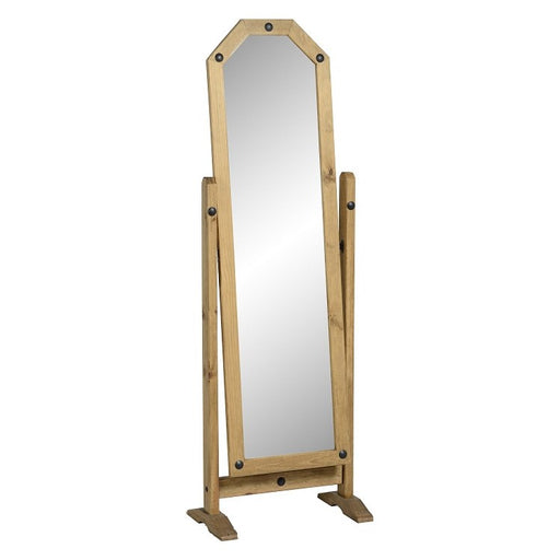 Corona Cheval Mirror in Distressed Waxed Pine - The Furniture Mega Store