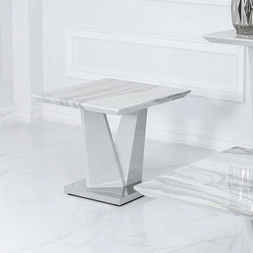 Esther Marble Effect Side Table - The Furniture Mega Store