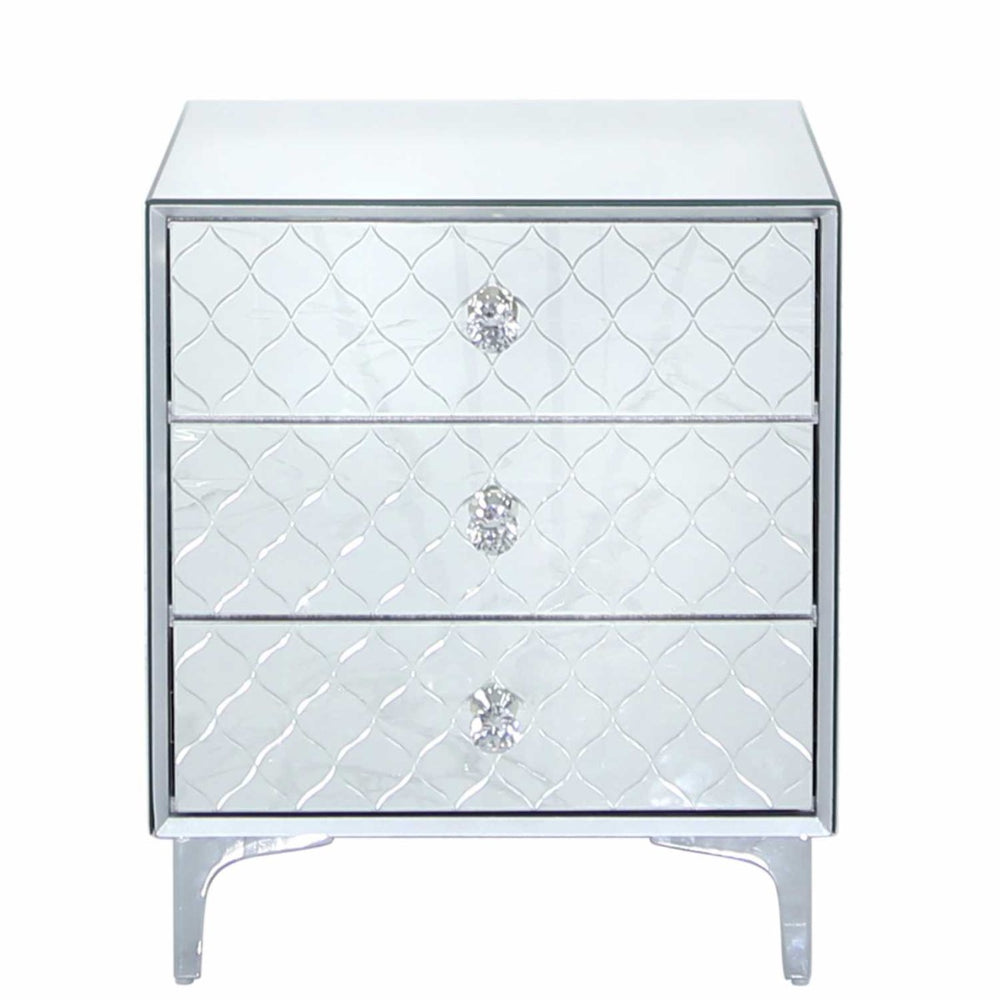 Sahara Mirrored 3 Drawer Bedside Cabinet Crystal Handles - The Furniture Mega Store