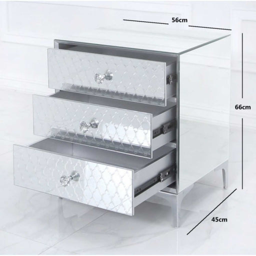 Laila Mirrored 3 Drawer Bedside Cabinet Crystal Handles