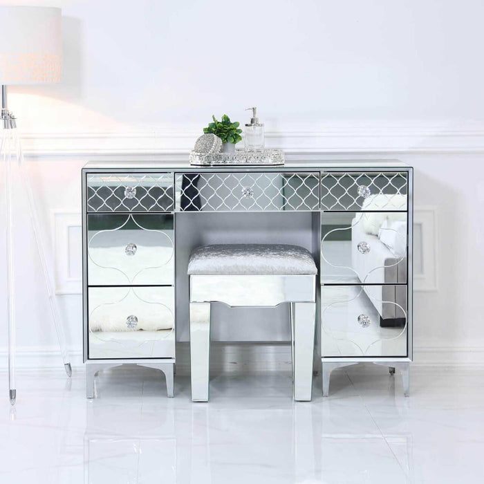 Laila Mirrored Double Pedestal Dressing Table