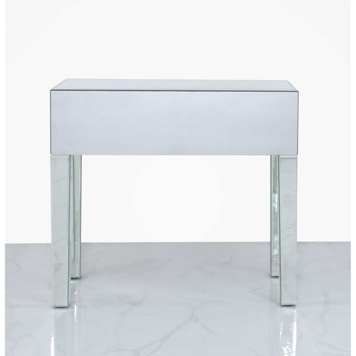 Sahara Mirrored Console Table - Etched Quatrefoil Design