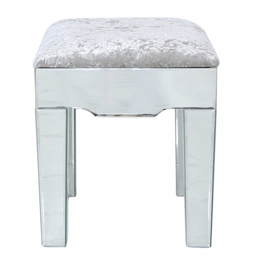Laila Mirrored Vanity Stool - Etched Quartrefoil Design
