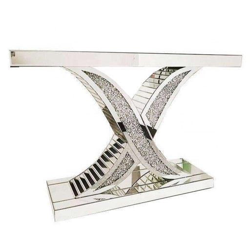 "Crushed Diamond ""Wavy X"" Mirrored Console Table - The Furniture Mega Store"