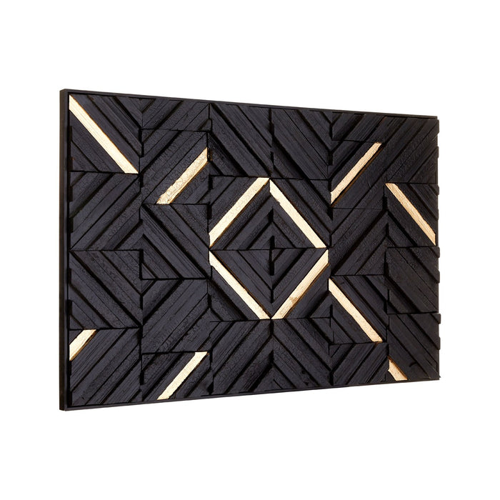 Modello Gold & Black Wood Panel Wall Art 120cm x 80cm - The Furniture Mega Store
