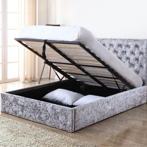Crushed Velvet Storage Bed - Double 4'6 - Silver