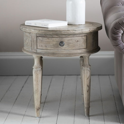 Mustique Round 1 Drawer Side Table