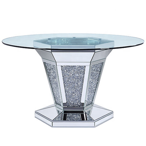 Crushed Diamond Round Mirrored Dining Table