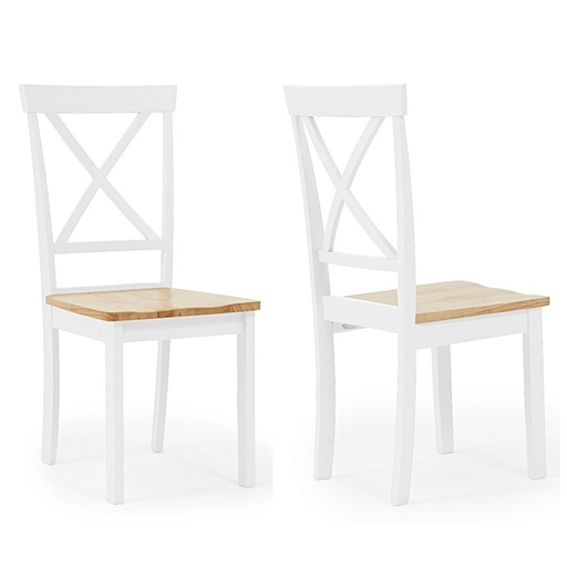 Elstree Oak & Painted White Dining Chairs - Set Of 2