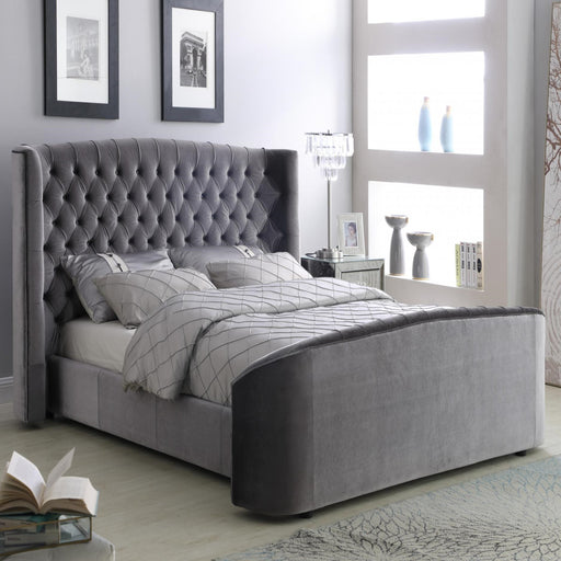 "Ariel Silver-Grey Plush Velvet 4""6 Double Bed"