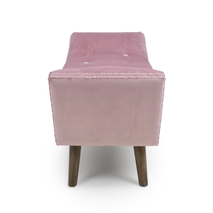 MEDIUM BLUSH PINK BRUSHED VELVET BENCH SEAT