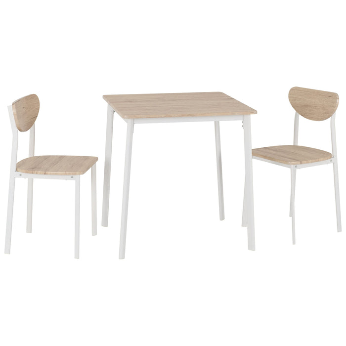 Riley Compact Dining Set - White & Light Oak Effect Veneer - The Furniture Mega Store