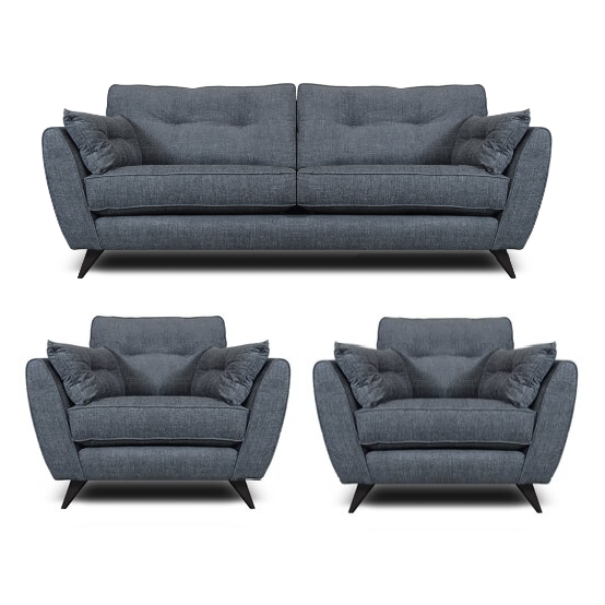Kiki 3 Seater Fabric Sofa & 2 Armchairs Set In Charcoal