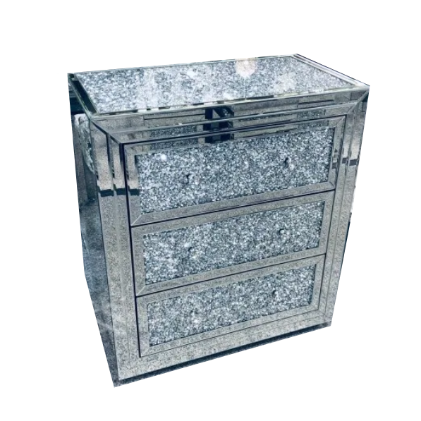 Crushed Diamond Top Mirrored 3 Drawer Chest